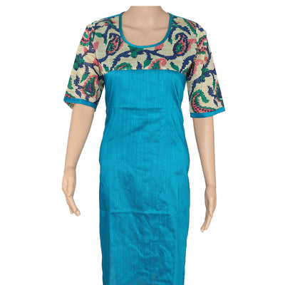 Raw Silk Kurta Blue with floral design