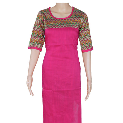 Raw Silk Kurta Pink with ikkat design for Rs.Rs. 680.00 | kurta by Prashanti Sarees