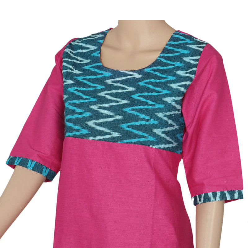 Kurta Pink and Blue with ikkat design