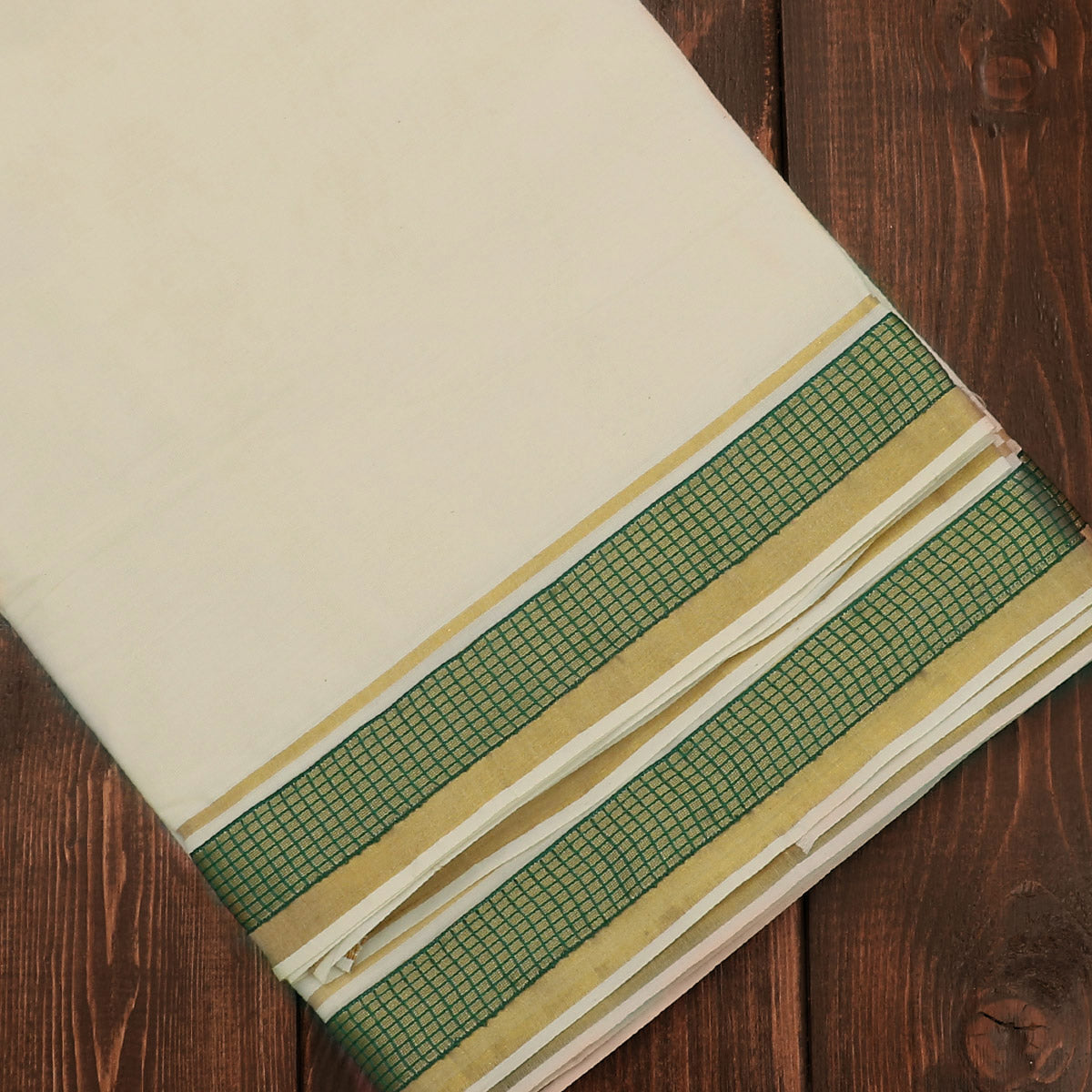 Kerala Kasavu Saree With Green Zari border