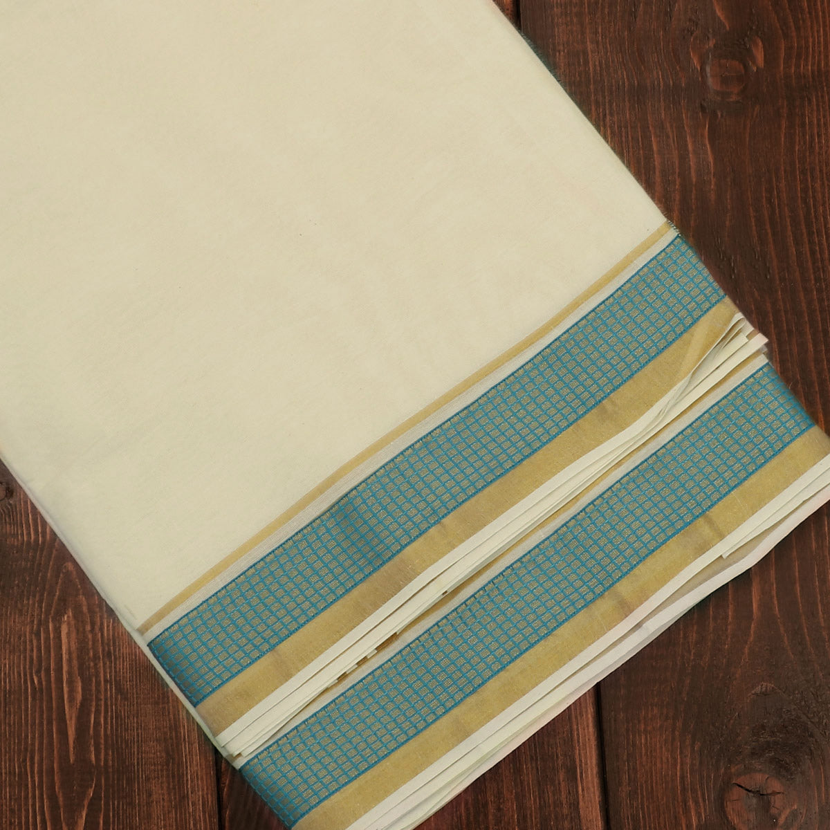 Kerala Kasavu Saree With Blue zari border
