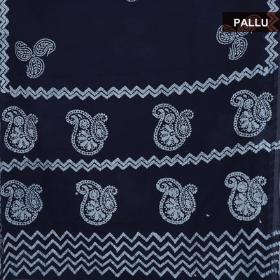 Cotton Saree Dark Blue and Off white with batik Print