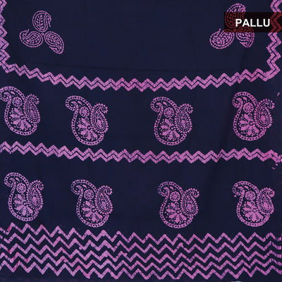 Cotton Saree Dark Blue and Pink with batik Print
