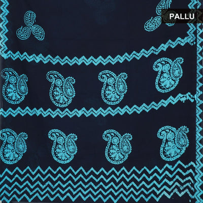 Cotton Saree Blue and Sky Blue with batik Print