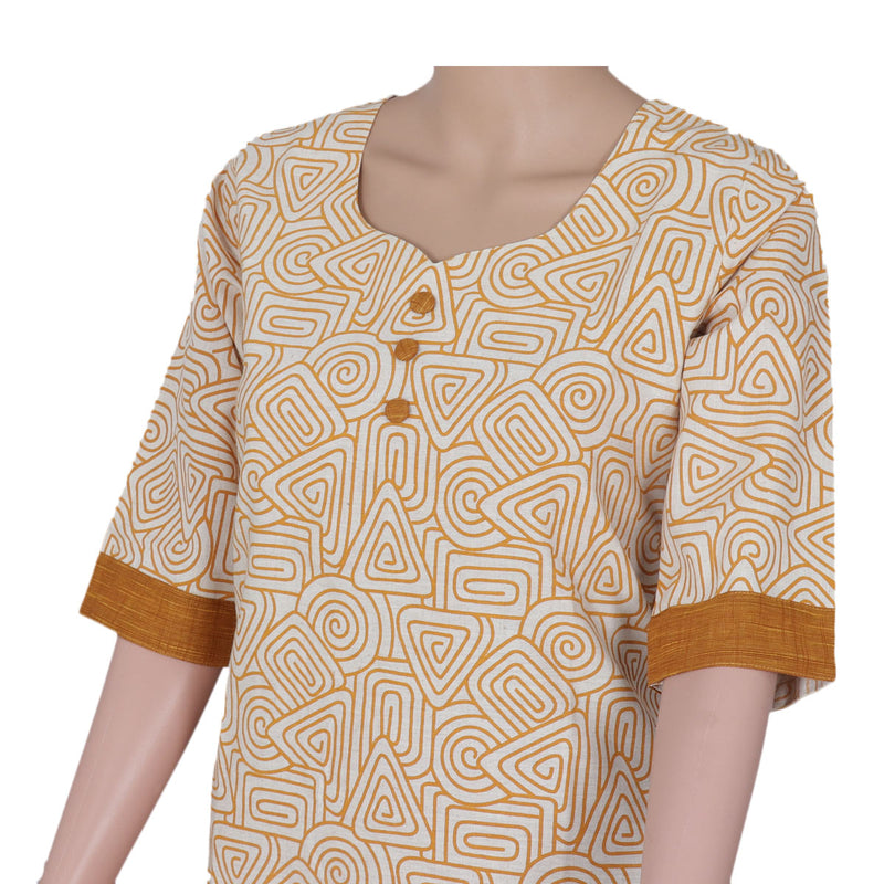 Cotton Kurta Beige and Mustard with mixed design