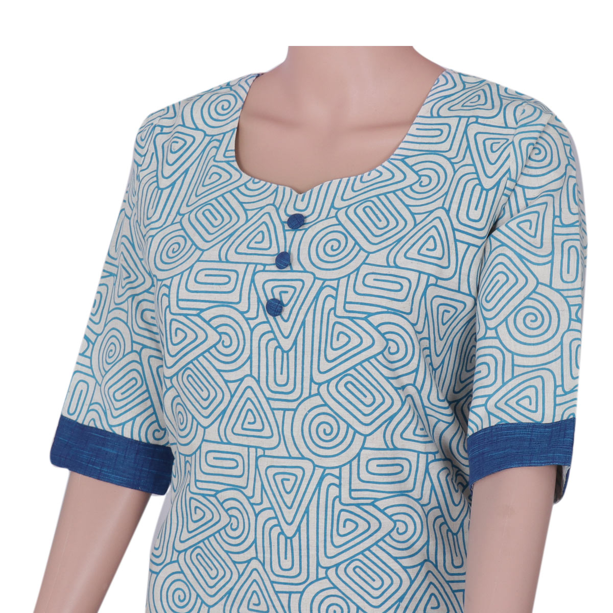 Cotton Kurta Beige and blue with mixed design for Rs.Rs. 680.00 | Kurta by Prashanti Sarees