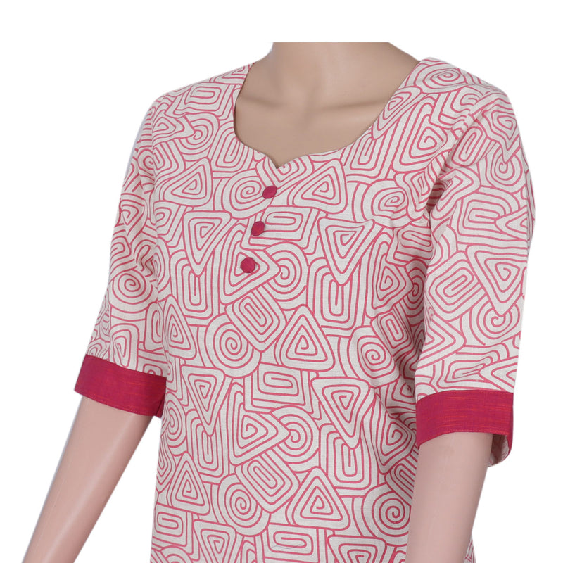 Cotton Kurta Beige and Pink with mixed design