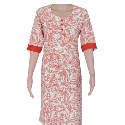 Cotton Kurta Beige and Red with mixed design