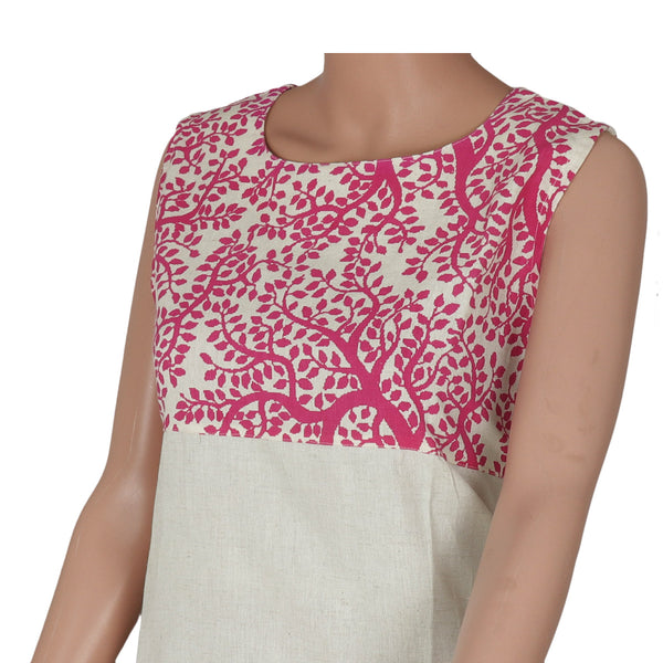 Cotton Kurta Pink and Beige with leaf design