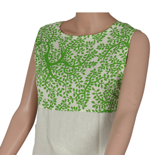 Cotton Kurta Green and Beige with leaf design