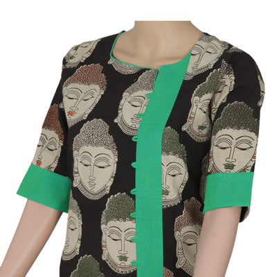 Kalamkari kurta black and Green with buddha design for Rs.Rs. 690.00 | kurta by Prashanti Sarees
