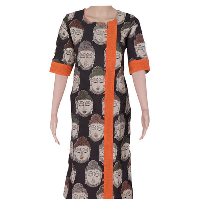 Kalamkari kurta black and Orange with buddha design for Rs.Rs. 690.00 | kurta by Prashanti Sarees