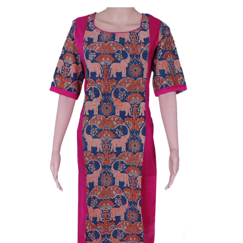 Kalamkari Raw Silk Kurta Pink and Blue elephant design