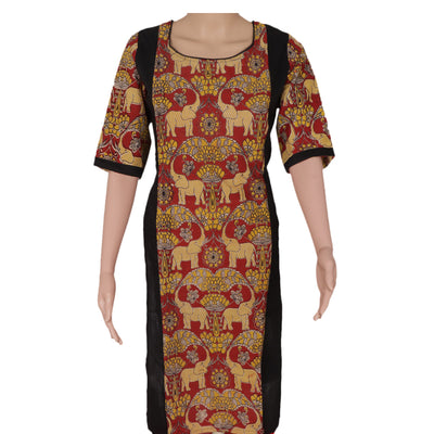 Kalamkari Raw Silk Kurta Black and Maroon elephant design