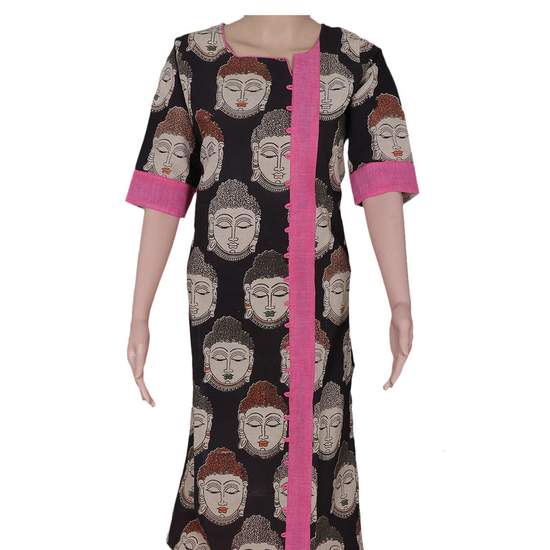 Kalamkari kurta black and Pink with buddha design