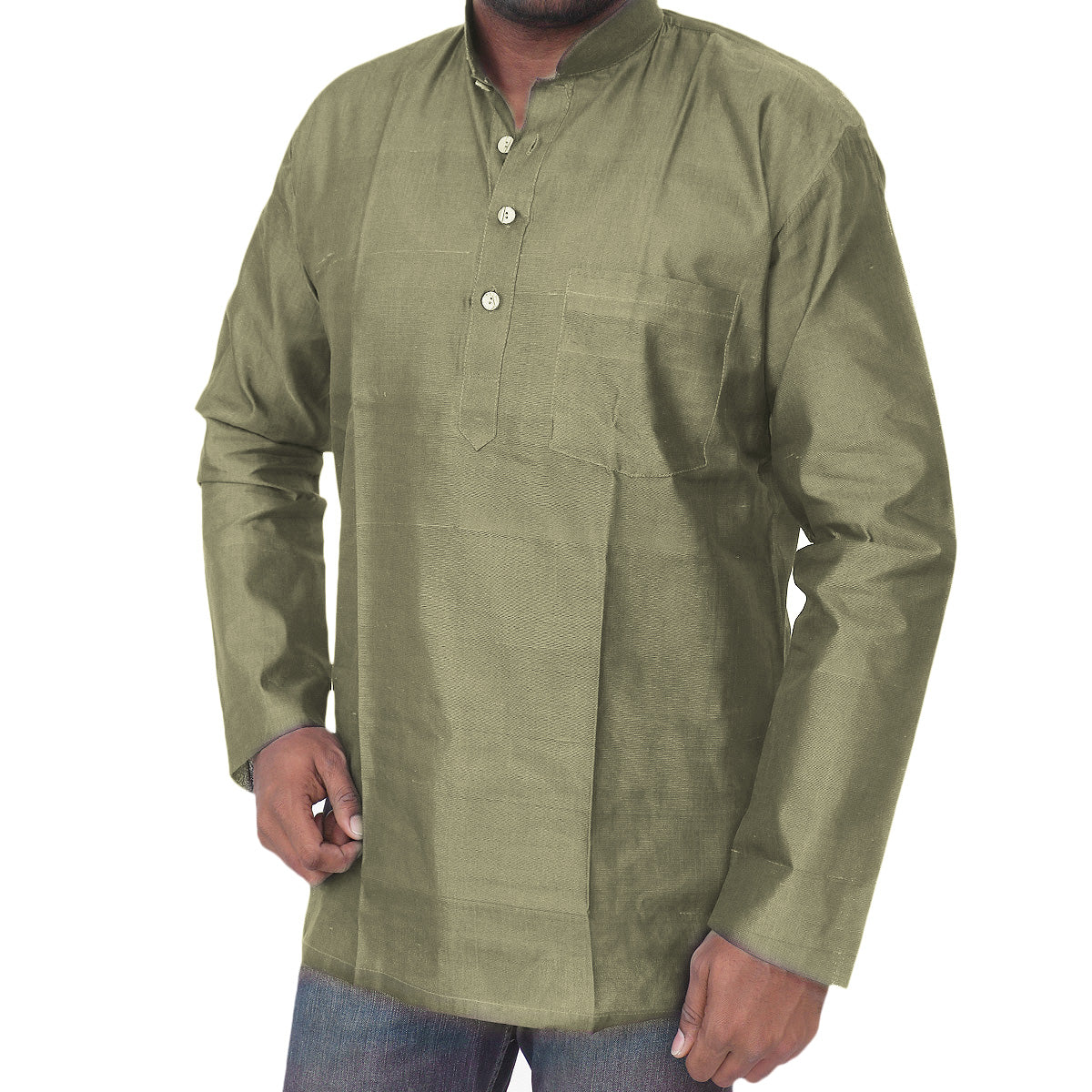Mens Short Silk Cotton Kurta olive green