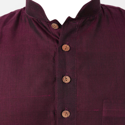 Mens Short Silk Cotton Kurta Magenta