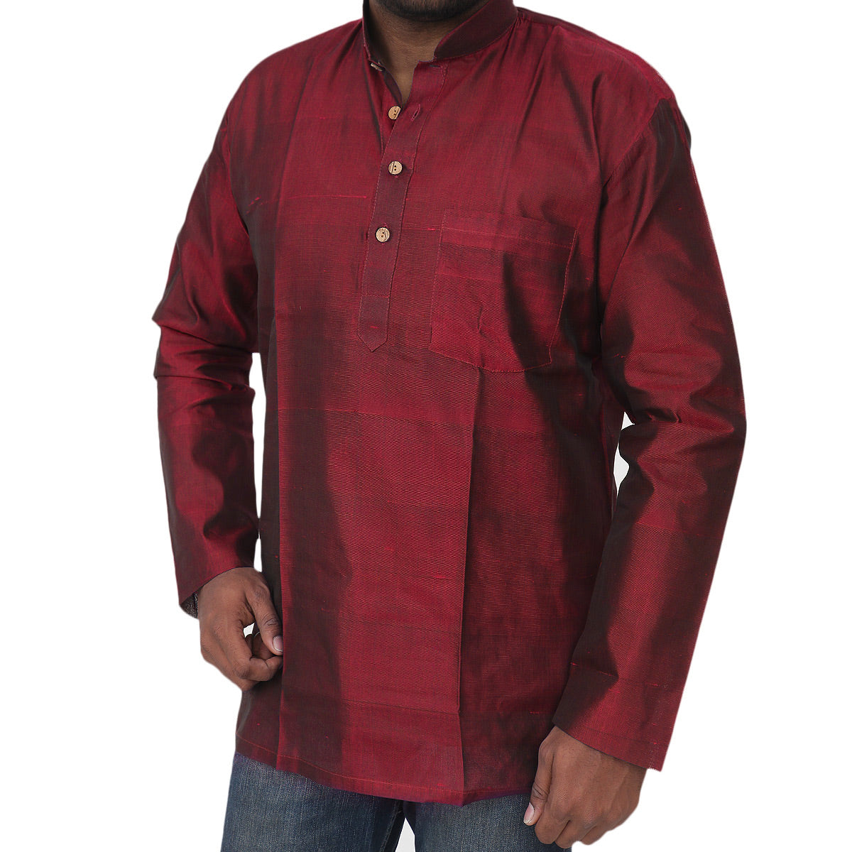 Mens Short Silk Cotton Kurta Maroon for Rs.Rs. 1950.00 | Mens Kurta by Prashanti Sarees