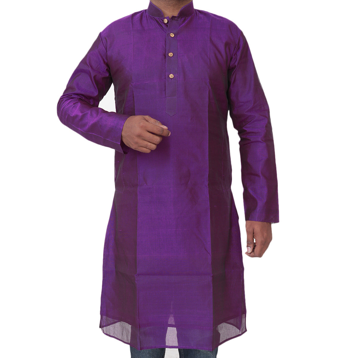 Mens Long Silk Cotton Kurta Purple