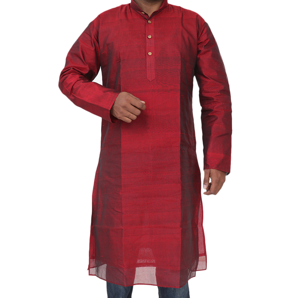 Mens Long Silk Cotton Kurta Maroon for Rs.Rs. 2150.00 | Mens Kurta by Prashanti Sarees