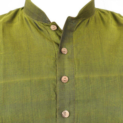 Mens Long Silk Cotton Kurta Green