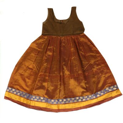 Silk Cotton Paavadai Sattai - Violet and Rust Green with Simple Border (3 Years )