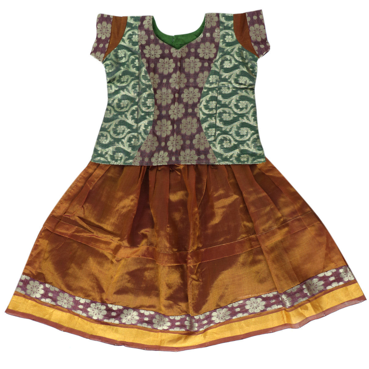 Silk Cotton Paavadai Sattai - Green and Rust Green with Simple Border (3 Years)