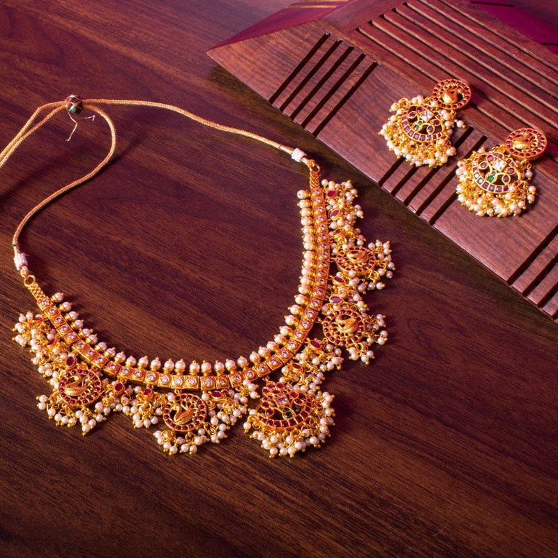 Classic long gold plated necklace for Rs.Rs. 2750.00 | Jewellery by Prashanti Sarees