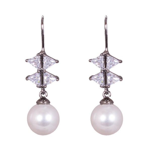 White Stone And Pearl Dual Layered Earrings