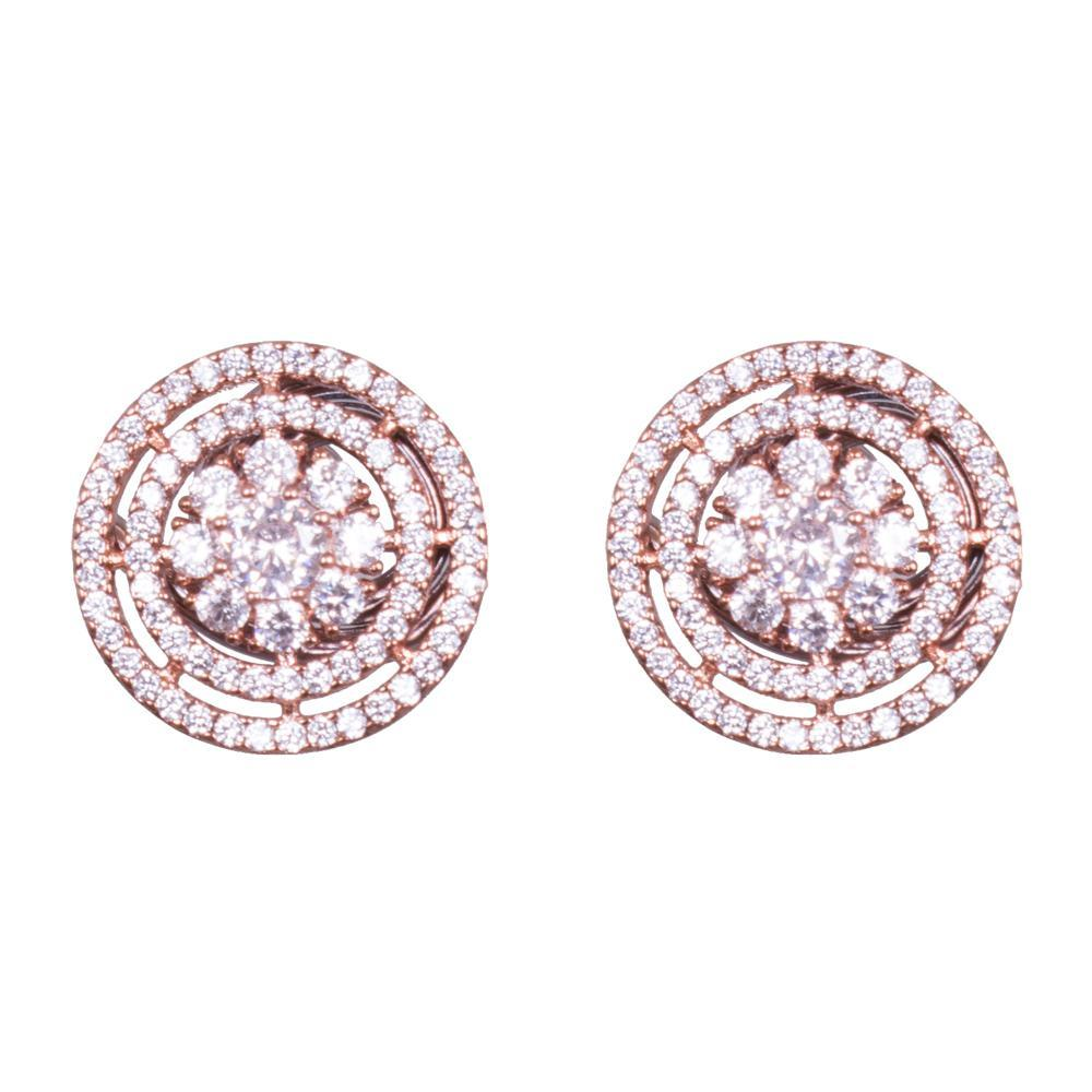 Zircon layered circular earrings