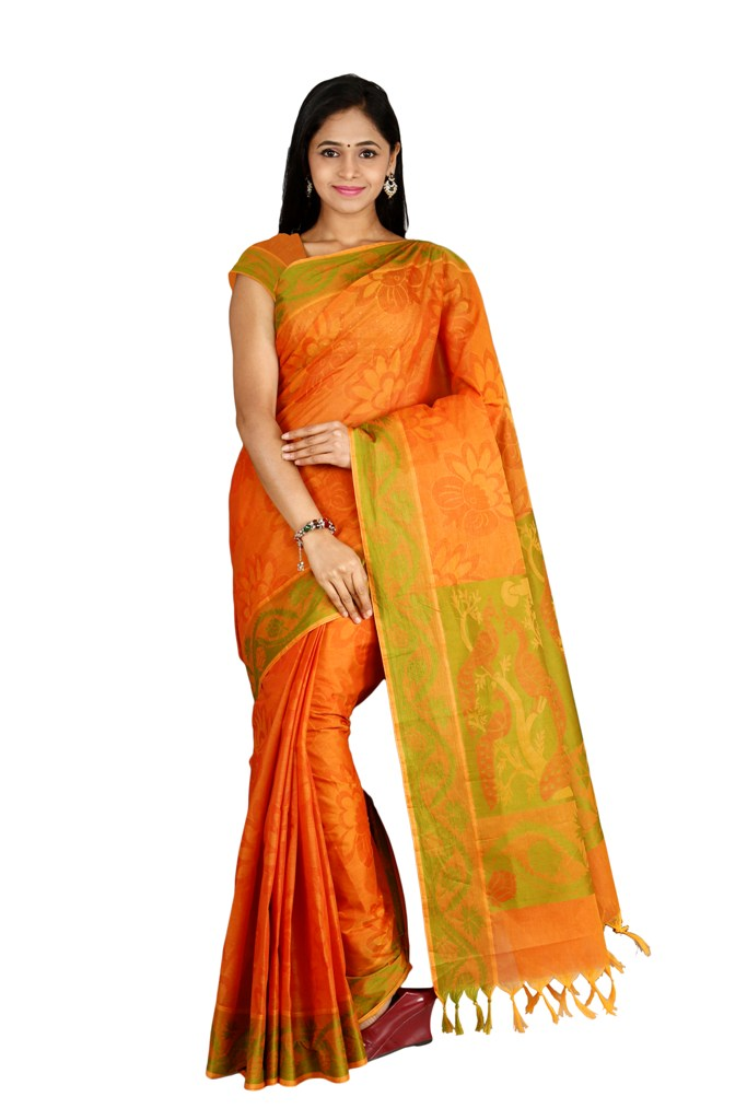 Coimbatore Cotton Saree - Orange for Rs.Rs. 1999.00 | by Prashanti Sarees