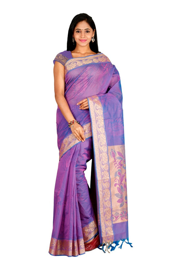 coimbatore Cotton Saree - Purple for Rs.Rs. 1989.00 | Cotton Sarees by Prashanti Sarees