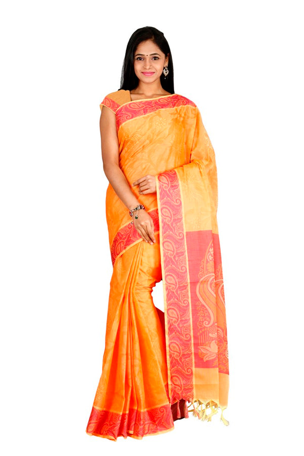 coimbatore Cotton Saree - Orange