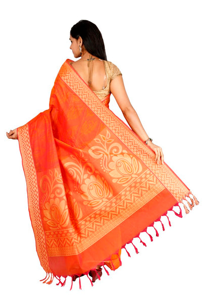 coimbatore Cotton Saree - Light orange