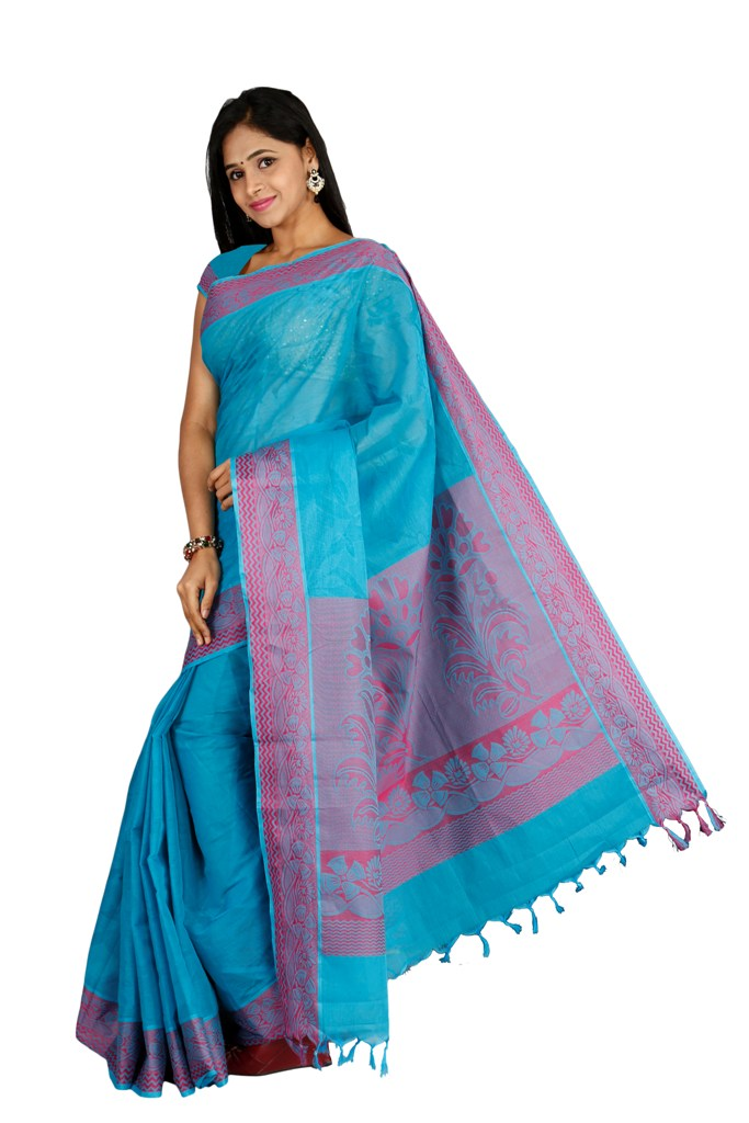 coimbatore Cotton Saree - Blue for Rs.Rs. 1999.00 | Cotton Sarees by Prashanti Sarees