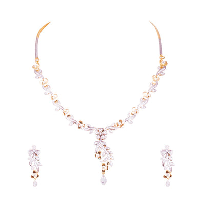 Crafted sparkled embellished necklace set for Rs.Rs. 1950.00 | American Diamond by Prashanti Sarees