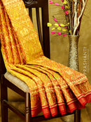 Rajkot Pattola silk saree brown and maroon with golden zari border