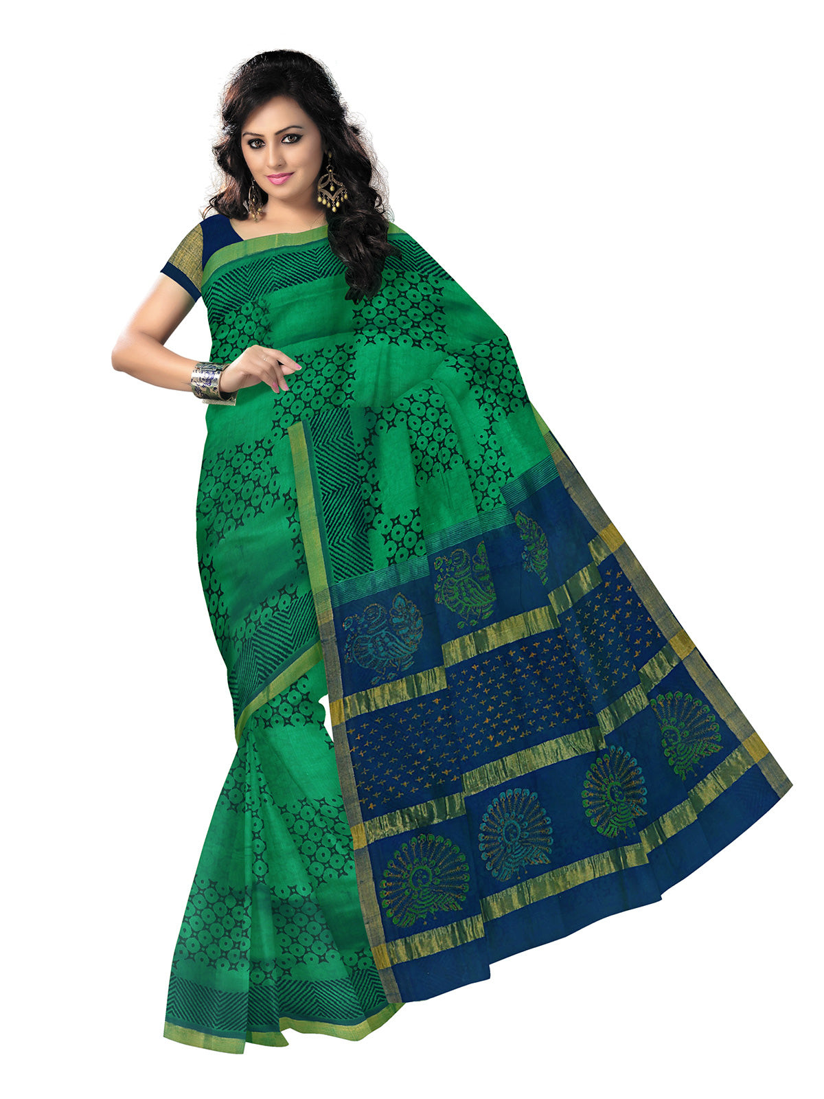 Printed Silk Cotton Saree Green and Blue with Simple Zari border