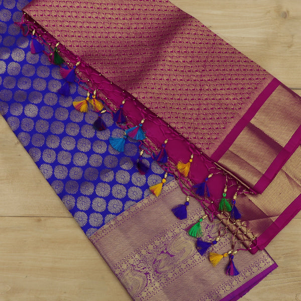 Pure Silk half saree set violet with all over golden zari butta and contrast pink blouse and dupatta