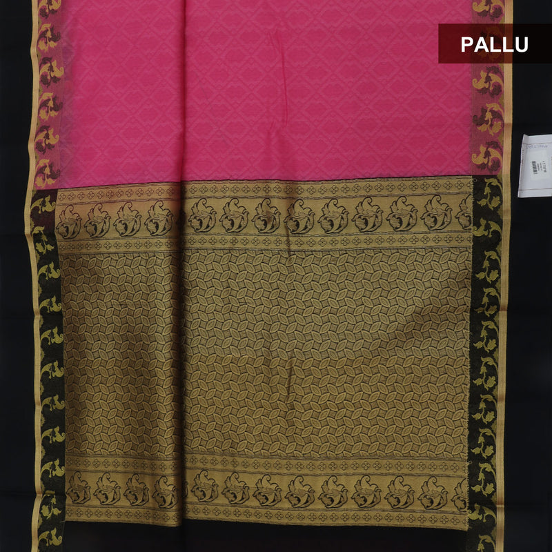 Kora silk saree Pink and Black with Floral border