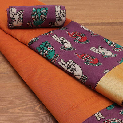 Mercerised Cotton Saree Orange and Violet with kalamkari border