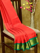 Silk Cotton Saree chilly red and green with golden zari paisley korvai border