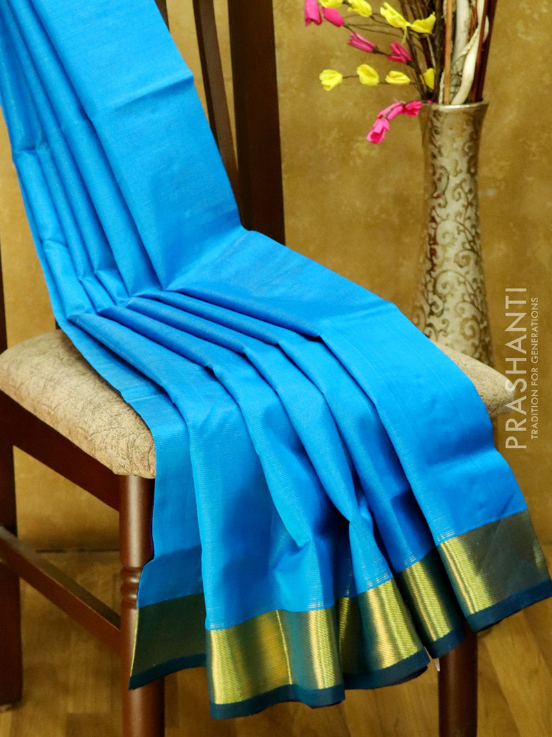 Silk Cotton Saree cs blue and blue vairaosi with bavanji border