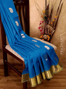 Silk Cotton Saree blue and green with zari buttas and bavanji border