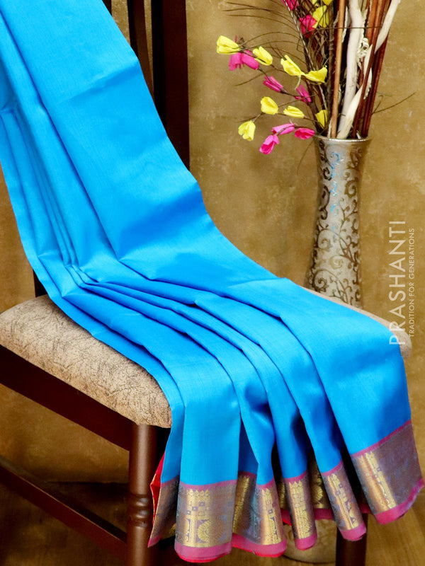Silk Cotton Saree blue and pink with simple zari border