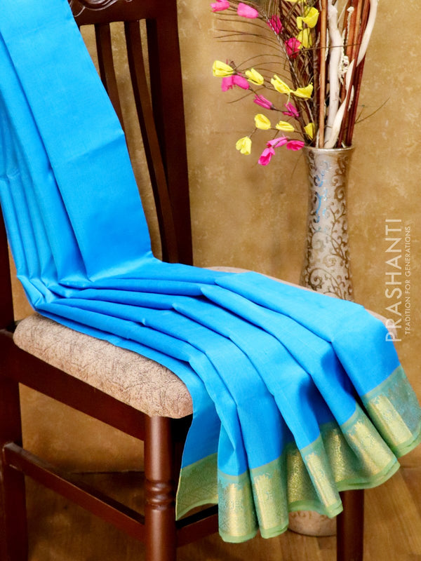 Silk Cotton Saree blue and green with simple zari border
