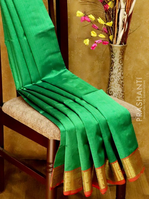 Silk Cotton Saree green and red with simple zari border