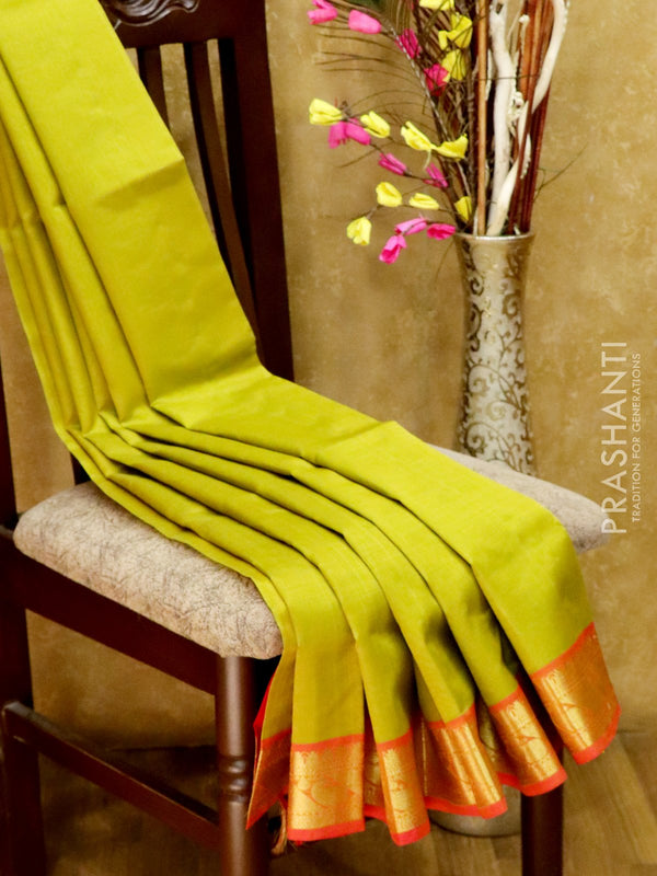 Silk Cotton Saree lime yellow and red with simple zari border