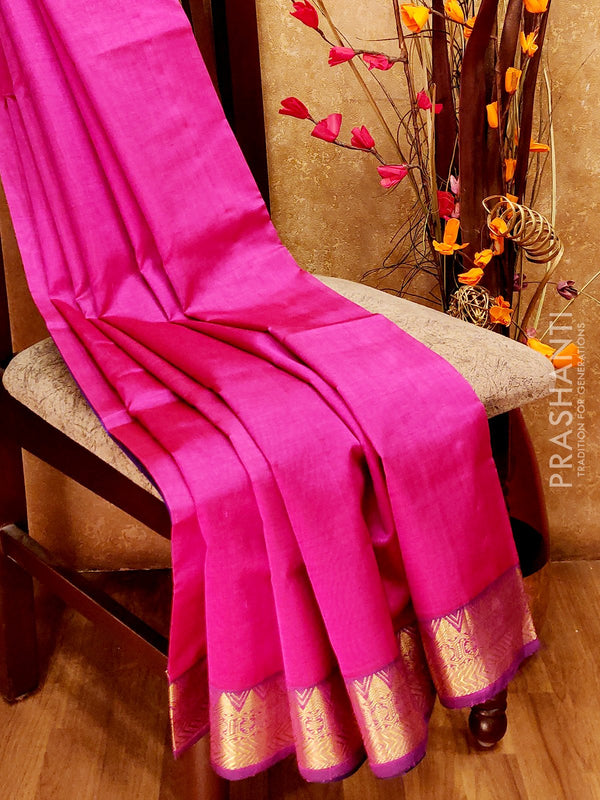 Silk Cotton Saree magenta pink and violet with simple zari border