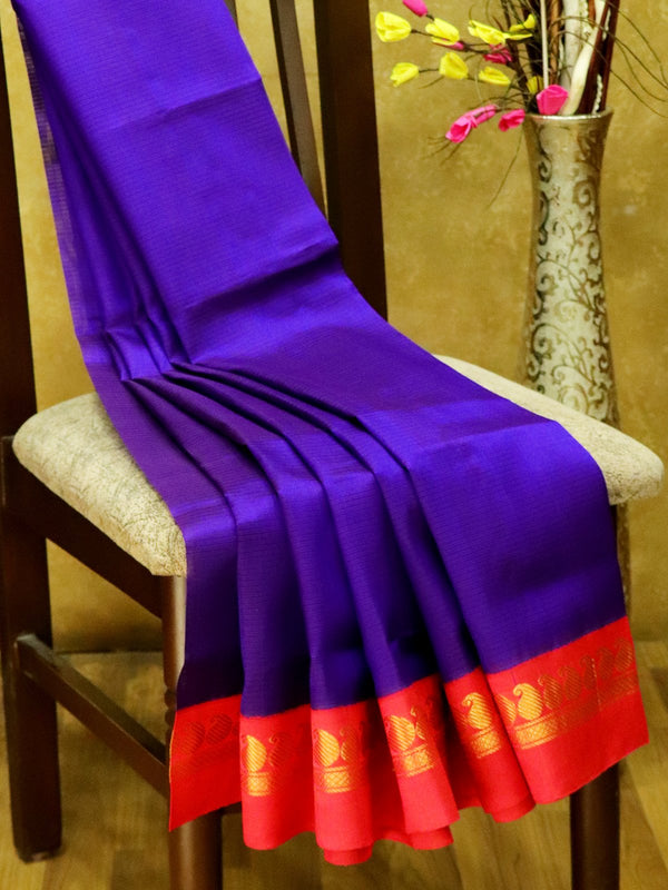 Silk Cotton Saree navy blue and red with rich korvai zari border